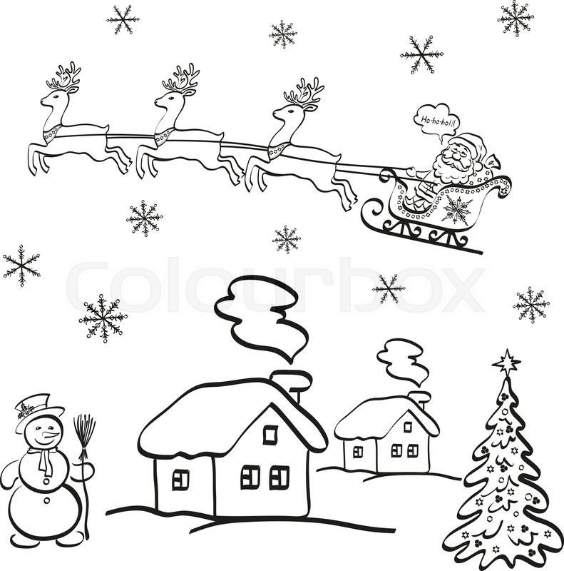791x800 Holiday Cartoon, Santa Claus Flying In A Snowy Sky In A Sleigh