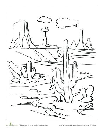 350x453 How To Draw A Desert Landscape Desert Coloring Page Draw Desert