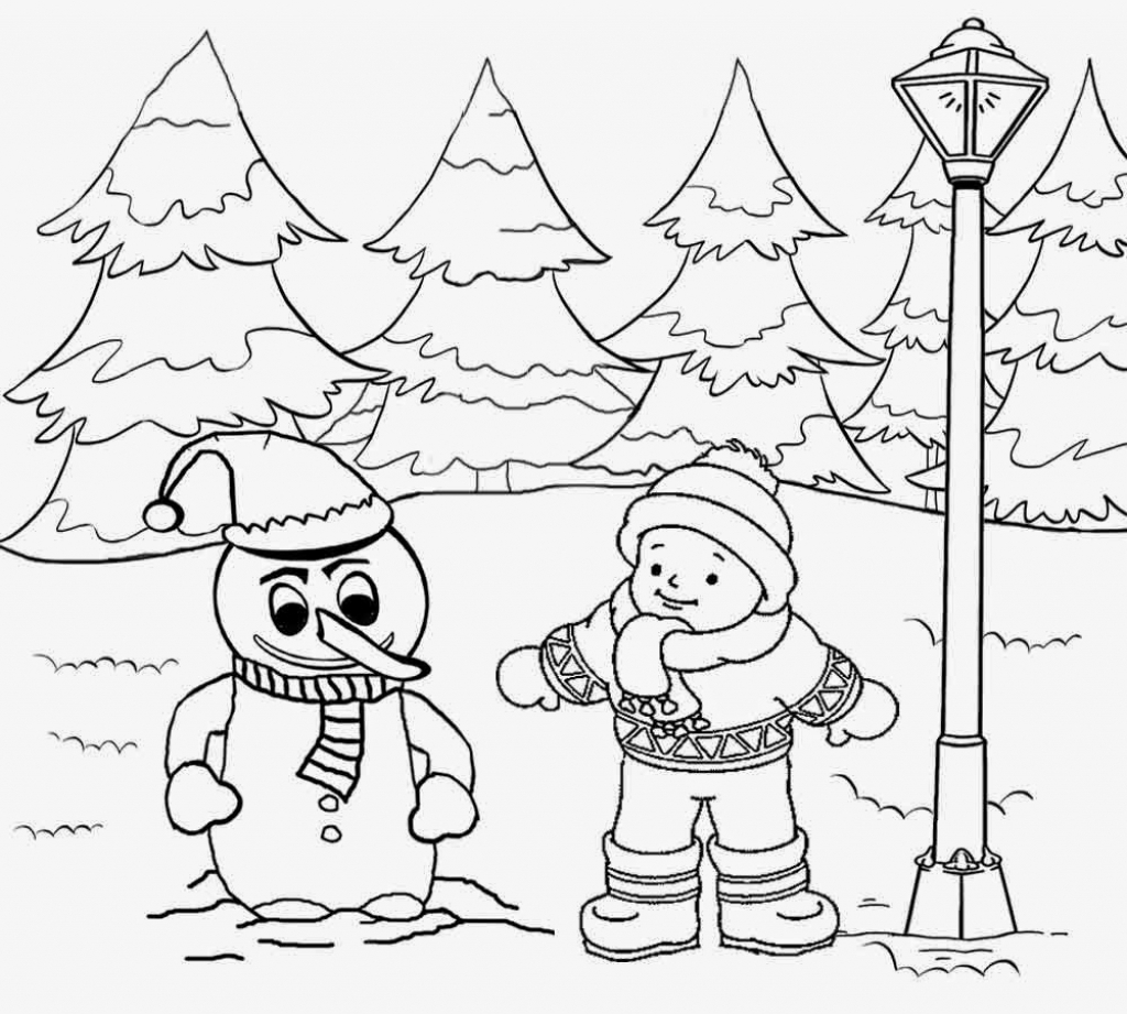 1024x921 How To Draw A Winter Landscape Landscape Drawing For Kids