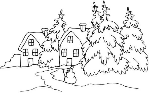 600x378 Landscapes Snowy Village Coloring Pages Winter