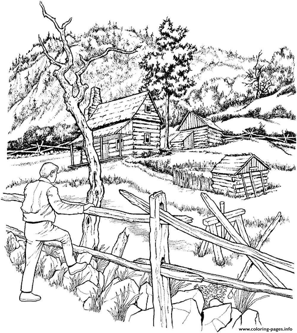 1000x1121 Print Adult Snowy Cabins Coloring Pages Patterns