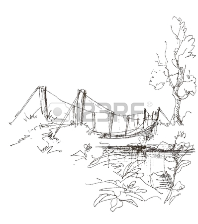 398x450 Rural Bridge Over River Landscape Royalty Free Cliparts, Vectors