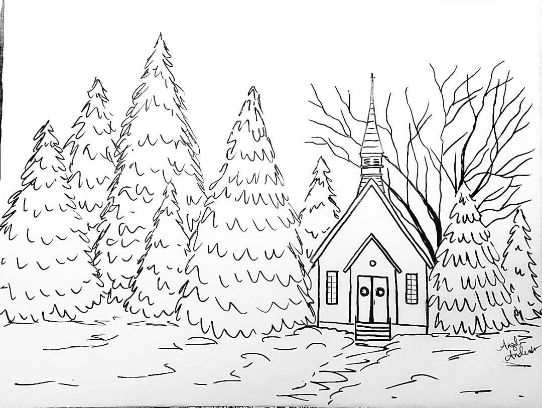 1080x813 Snowy Chapel Traceable Coloring Sheet