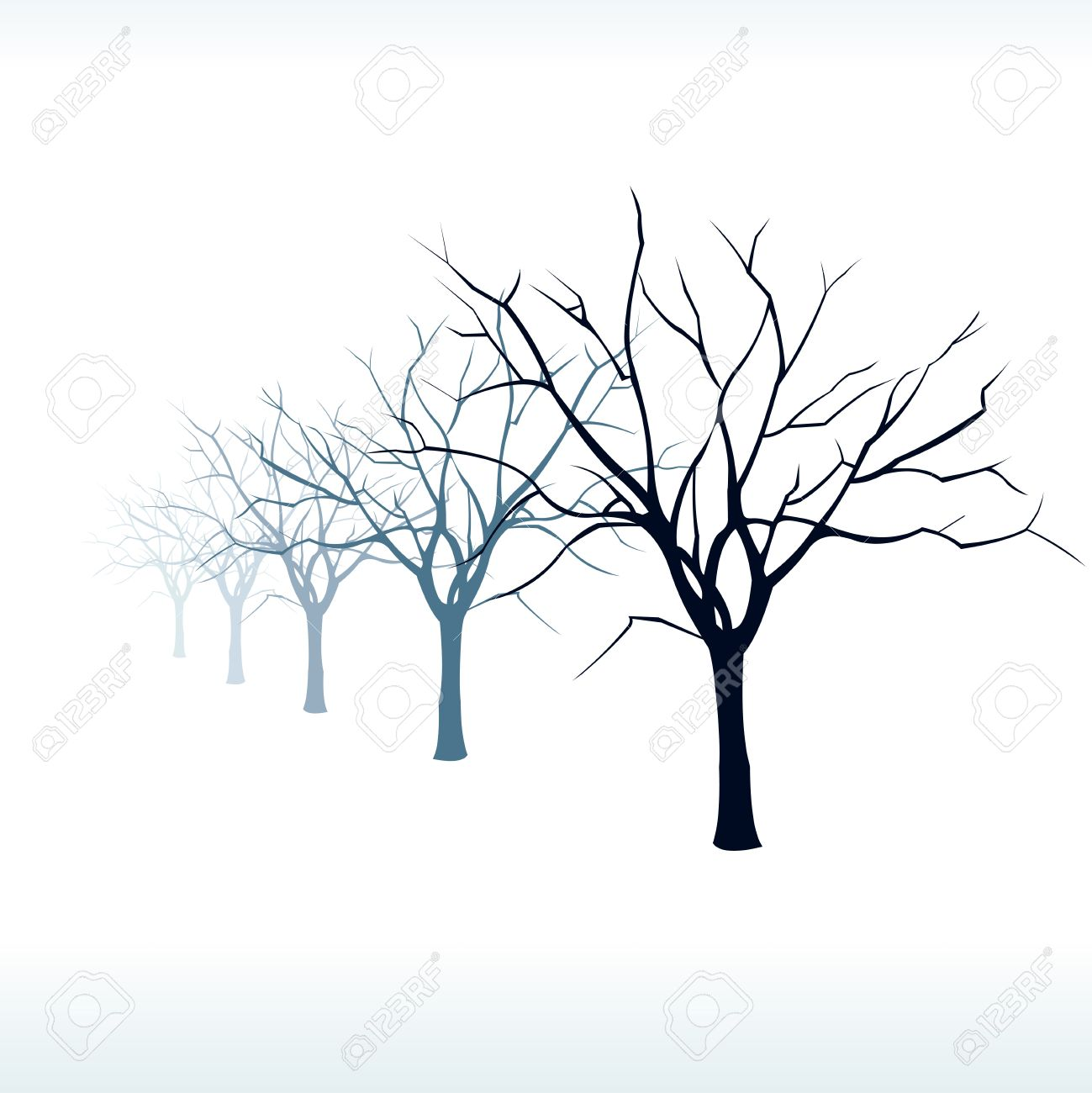 1299x1300 Bare Trees Silhouette In The Snow At Fog Easy Editable Layered