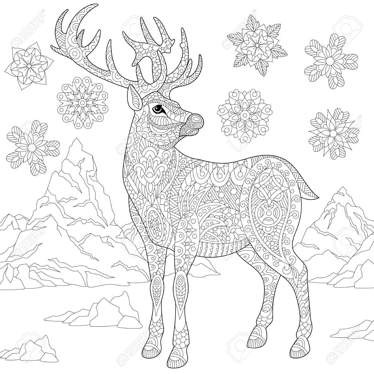 1300x1300 Coloring Page Of Deer (Reindeer) And Winter Snowflakes. Freehand