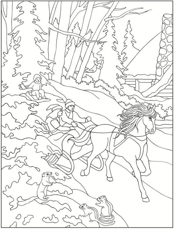 600x788 Freebie Winter Scene Images Scene, Winter And Adult Coloring