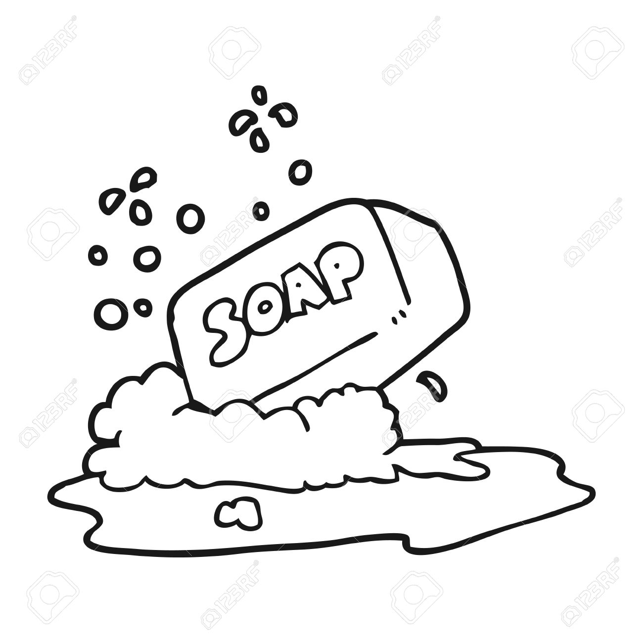 1300x1300 Freehand Drawn Black And White Cartoon Bar Of Soap Royalty Free