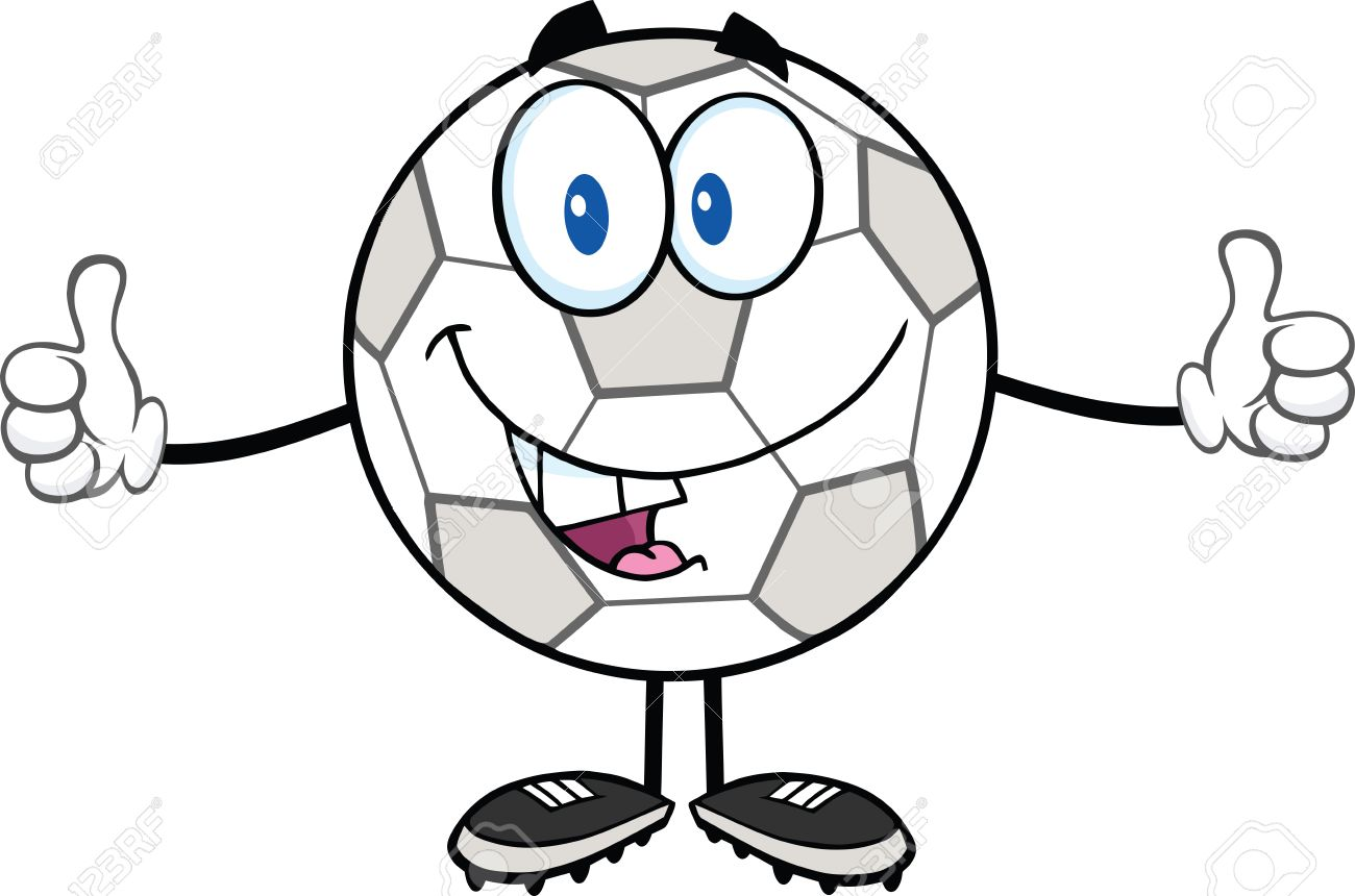 1300x860 Happy Soccer Ball Cartoon Character Giving A Double Thumbs Up