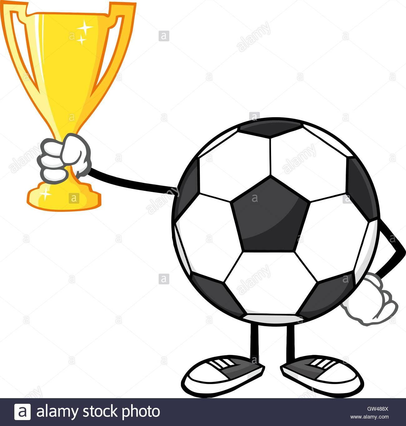 1300x1362 Soccer Ball Cartoon Character Holding A Golden Trophy Cup Stock