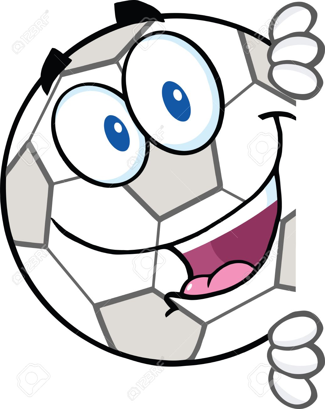 1036x1300 Soccer Ball Cartoon Character Looking Around A Blank Sign