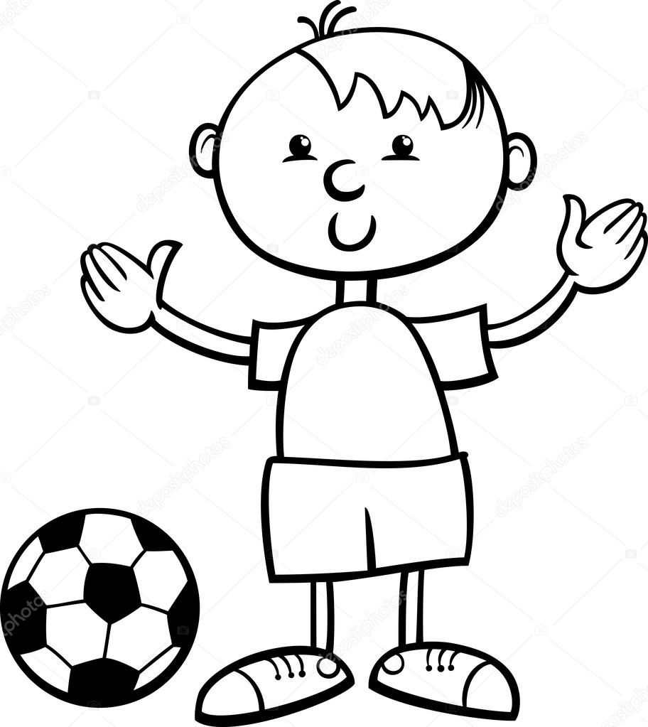 912x1023 Boy With Ball Cartoon Coloring Page Stock Vector Izakowski