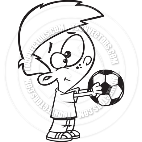 460x460 Cartoon Boy Holding Soccer Ball (Black Amp White Line Art) By Ron