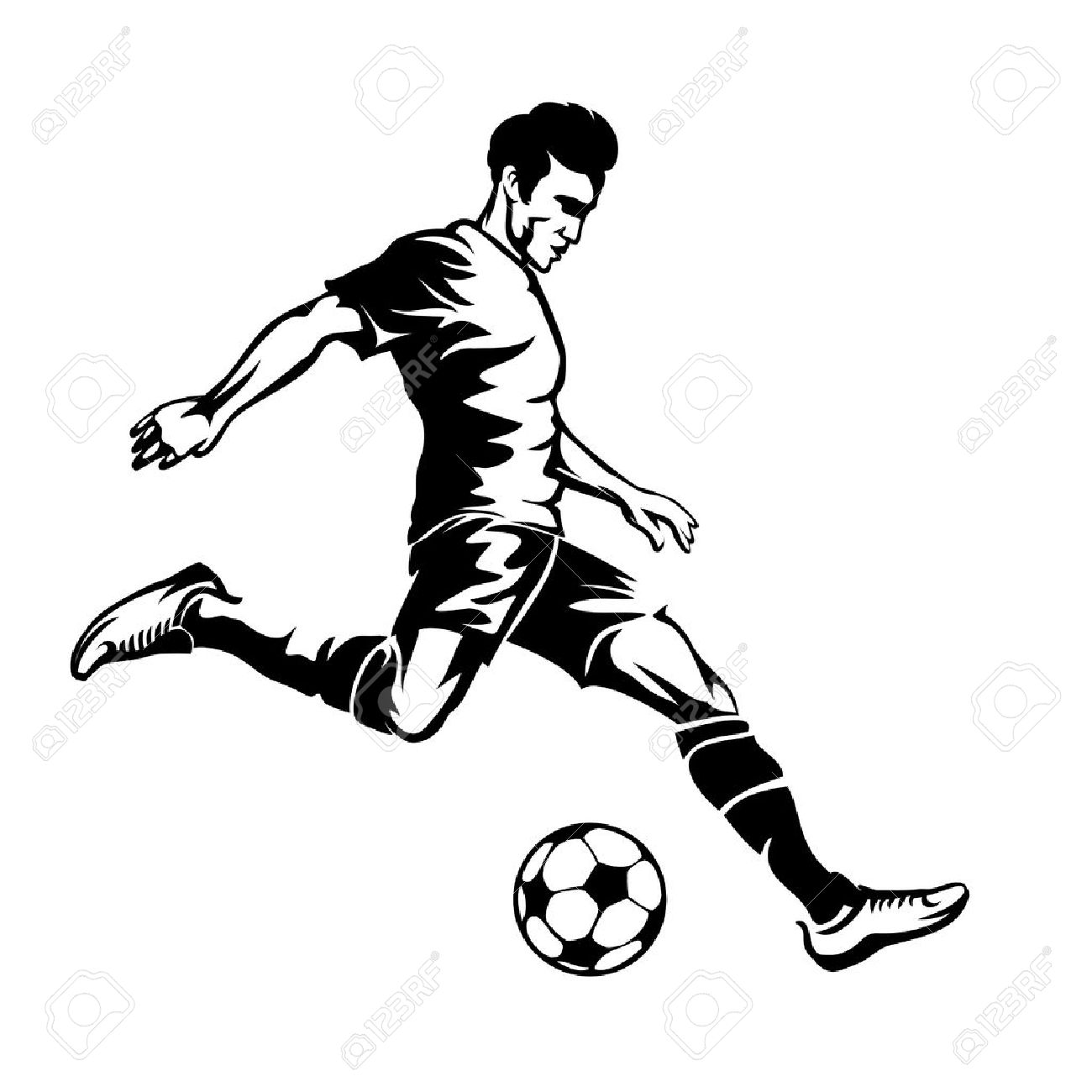 1300x1300 Football Player With Soccer Ball Vector Silhouette. Sport Game