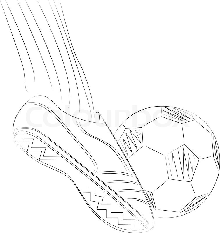 754x800 Sketch Illustration Of A Soccer Player's Foot On Soccer Ball