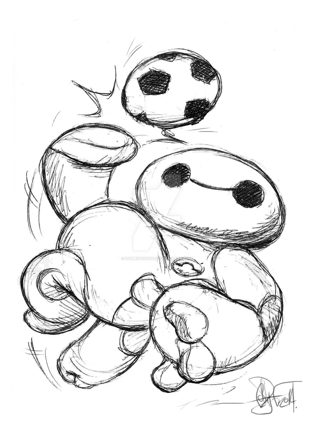 1024x1385 Baymax Soccer Ball Caricature 2014 By Domesticgod