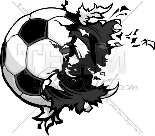 590x515 Exploding Soccer Ball Clipart Image. Easy To Edit Vector Format.