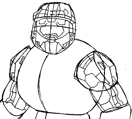 550x497 How To Draw Spartans From Halo With Easy Step By Step Drawing