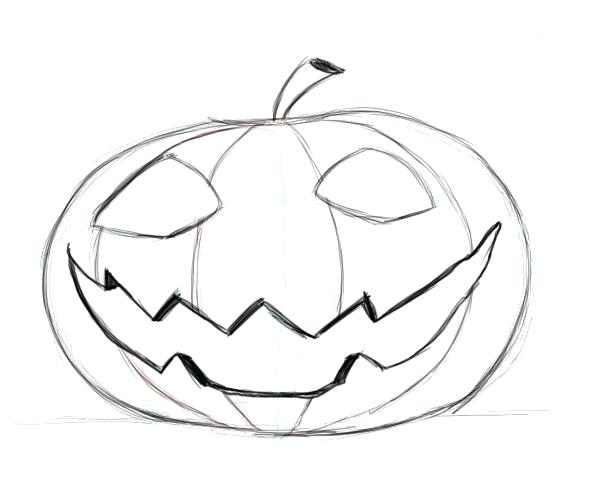 600x500 Pumpkin Drawing Drawing Pumpkin Faces Pumpkin Drawing Step By Step