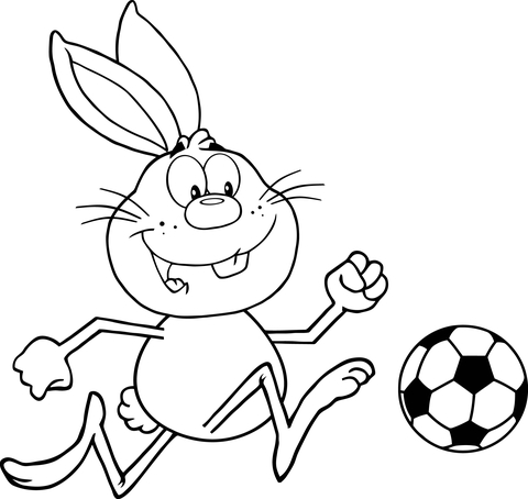 480x454 Cute Rabbit Playing Soccer Coloring Page Free Printable Coloring