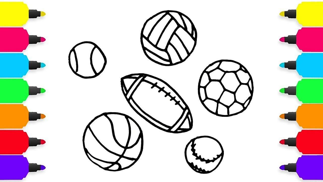 1280x720 How To Draw Sport Balls Collection Learn Coloring For Kids Art