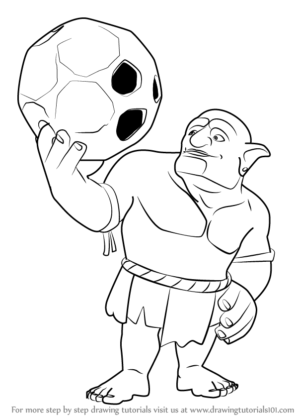 598x844 Learn How To Draw Bowler From Clash Clans (Clash