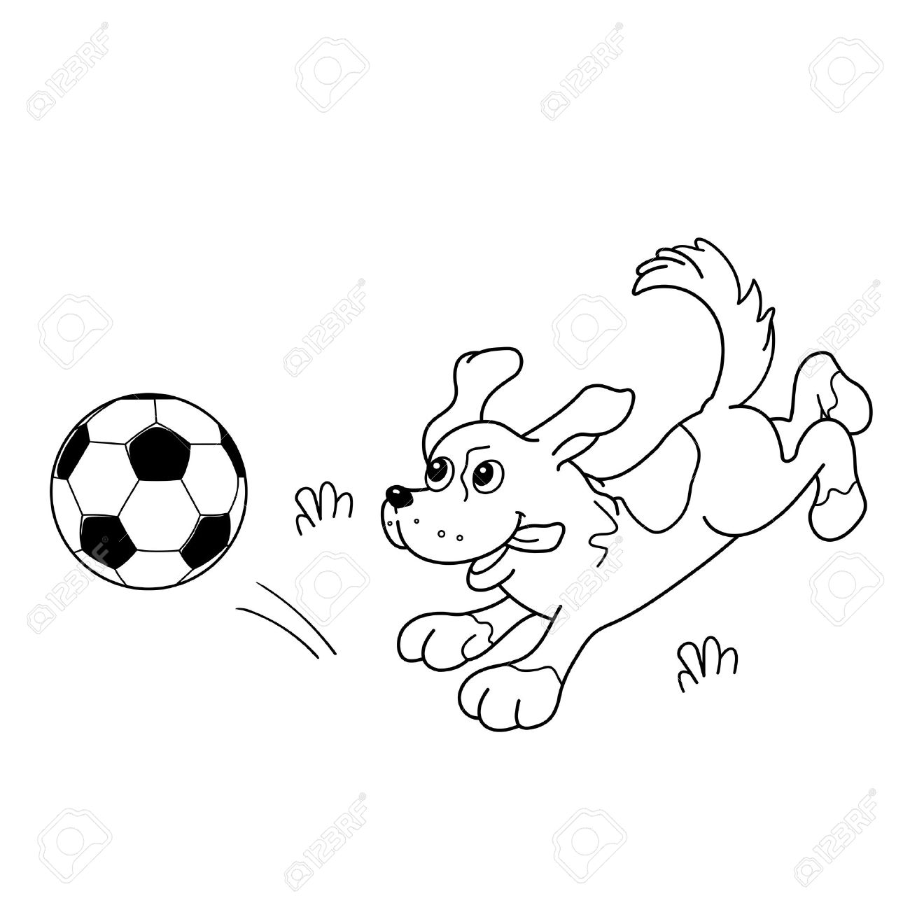 1300x1300 Coloring Page Outline Of Cartoon Dog With Soccer Ball. Coloring