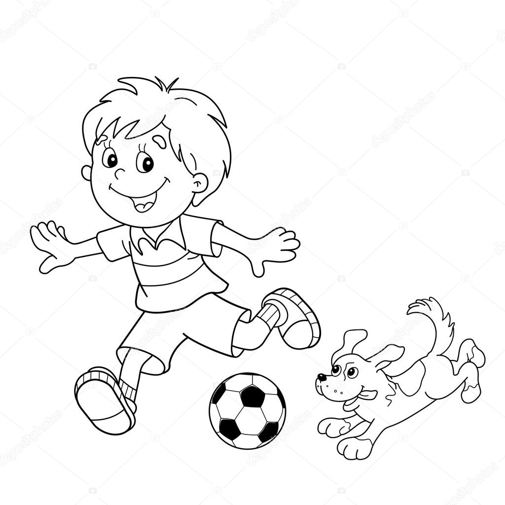 1024x1024 Coloring Page Outline Of Cartoon Boy With Soccer Ball With Dog