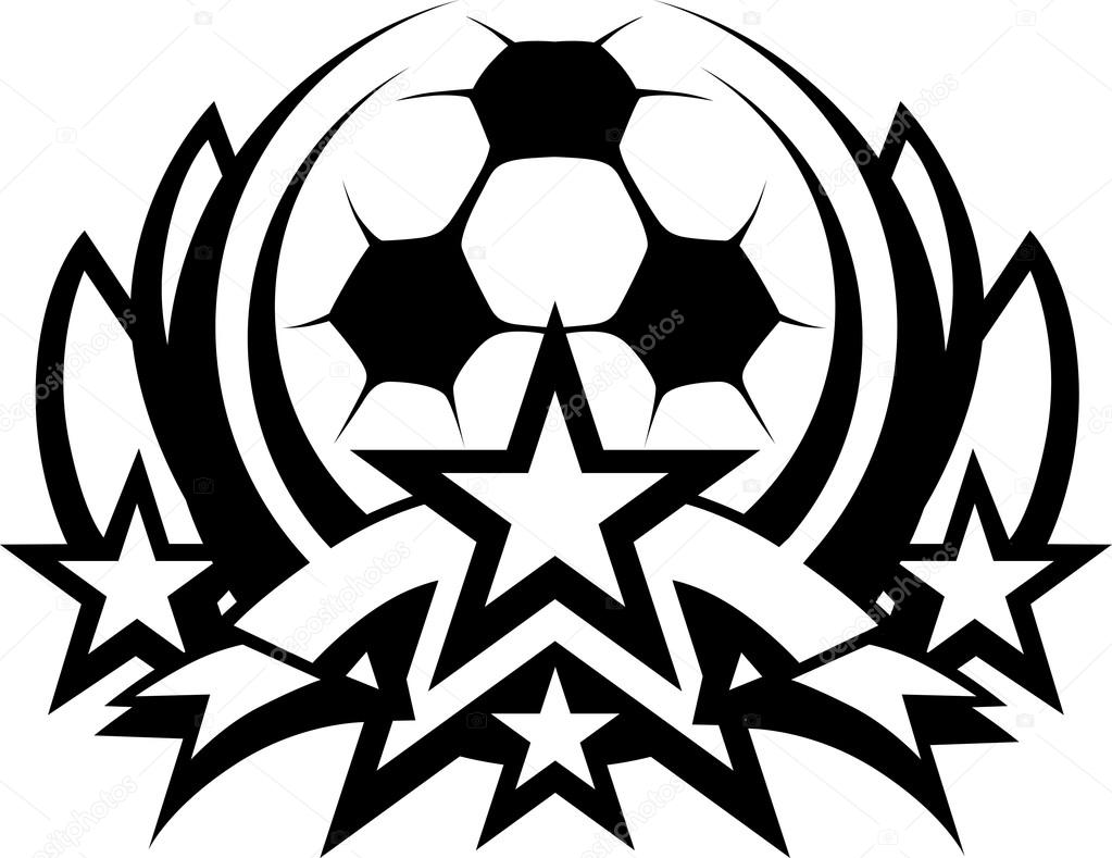 1023x789 Soccer Ball Vector Graphic Template With Stars Stock Vector