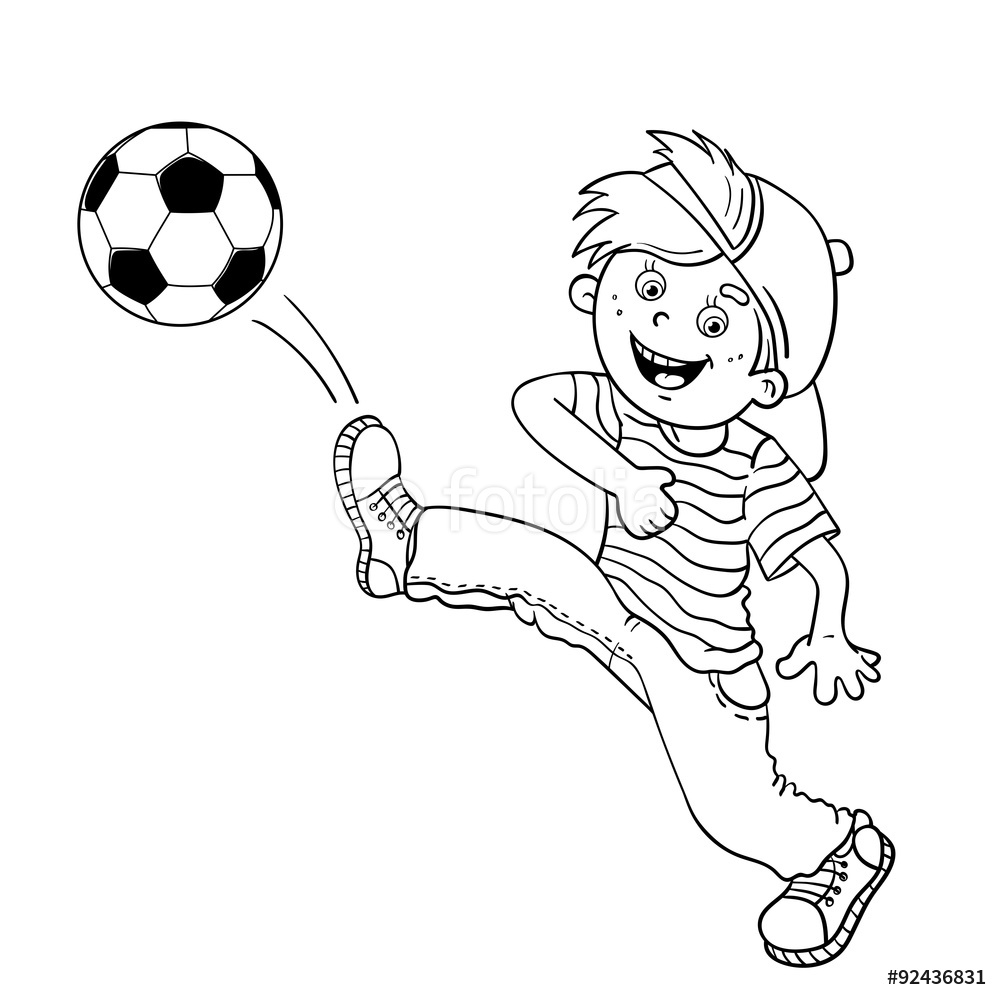 1000x1000 Coloring Page Outline Of A Boy Kicking A Soccer Ball Wall Sticker