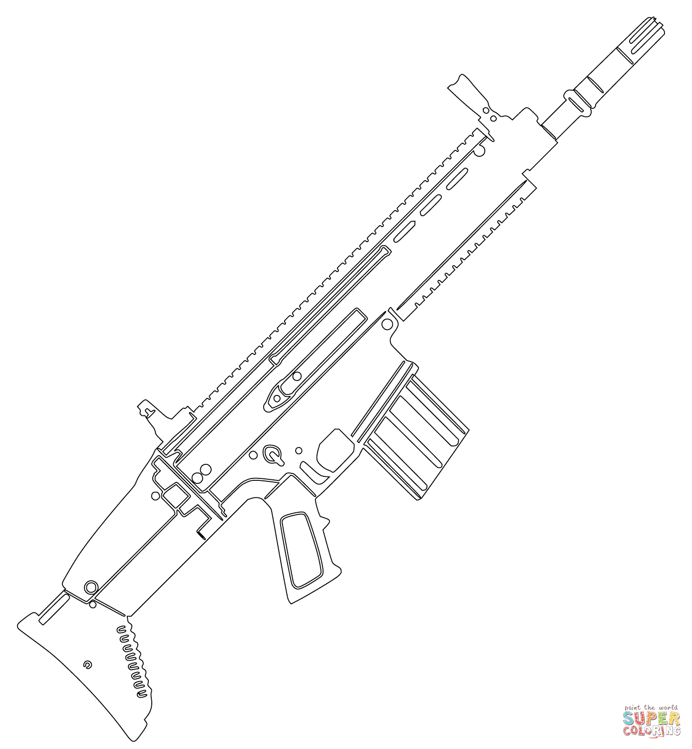 1386x1500 Fn Scar Assault Rifle Coloring Page Free Printable Coloring Pages