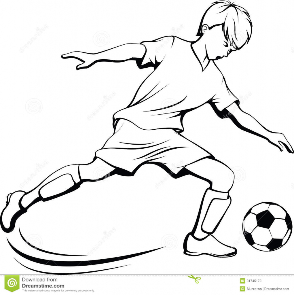 1021x1024 Drawing Of A Boy Is Playing Football Boy Playing Soccer Clipart