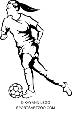 250x392 Female Soccer Or Football Player Dribbling By Sportsartzoo
