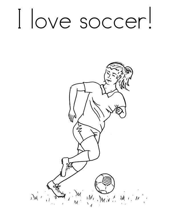 600x776 A Female Player In I Love Soccer Pamphlet Coloring Page
