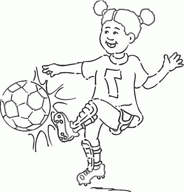 600x626 A Little Girl On Soccer Jersey Making A Shoot Coloring Page