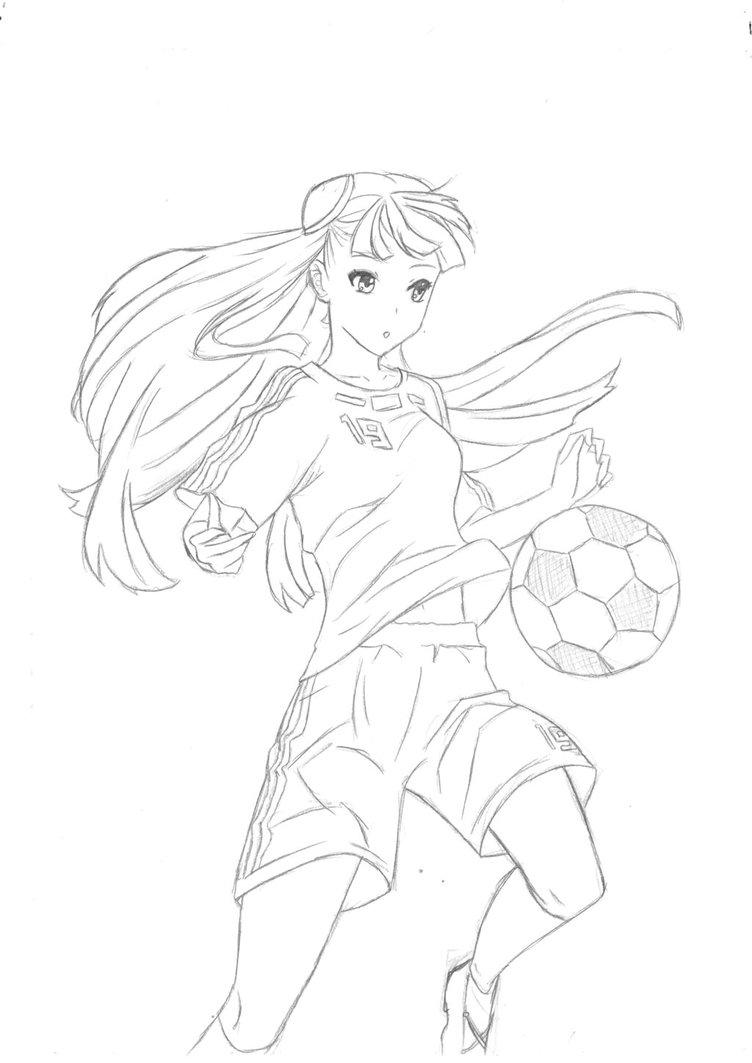 752x1063 Anime Girl Soccer By Vocaloid13a
