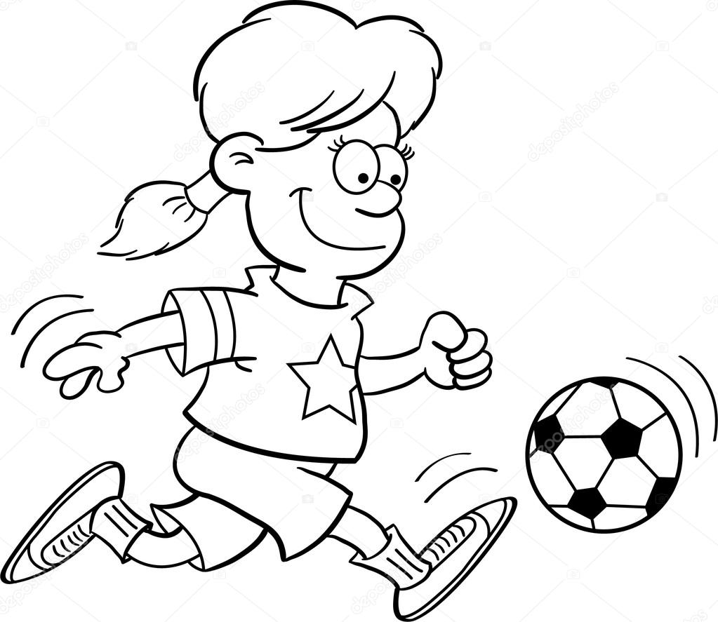 1023x887 Black And White Illustration Of A Girl Playing Soccer Stock