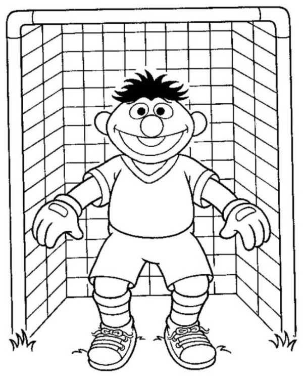 600x747 Elmo Sesame Street Goal Keeper Soccer Coloring Pages