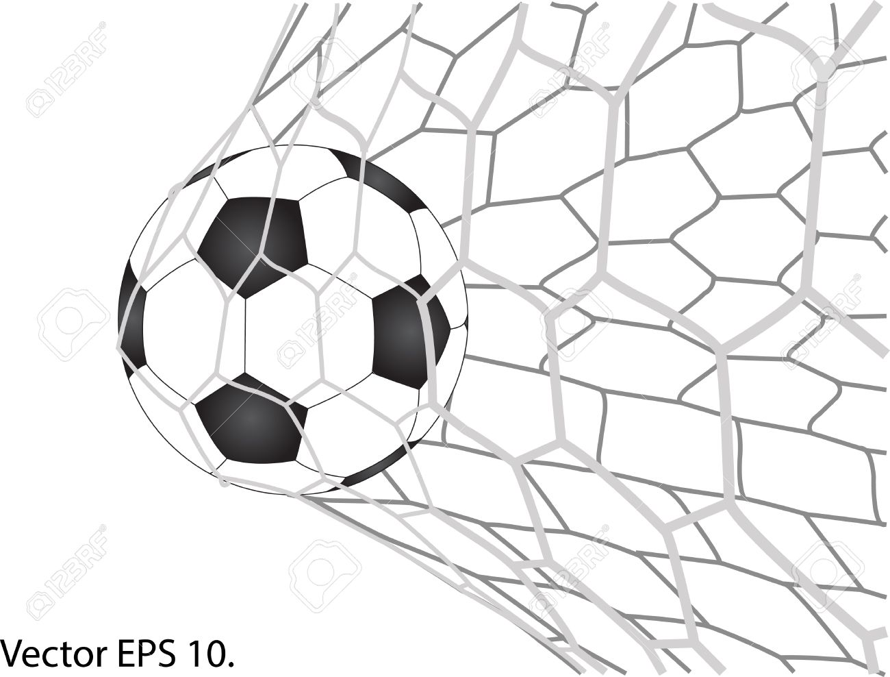 1300x988 Soccer Football In Goal Net Royalty Free Cliparts, Vectors,