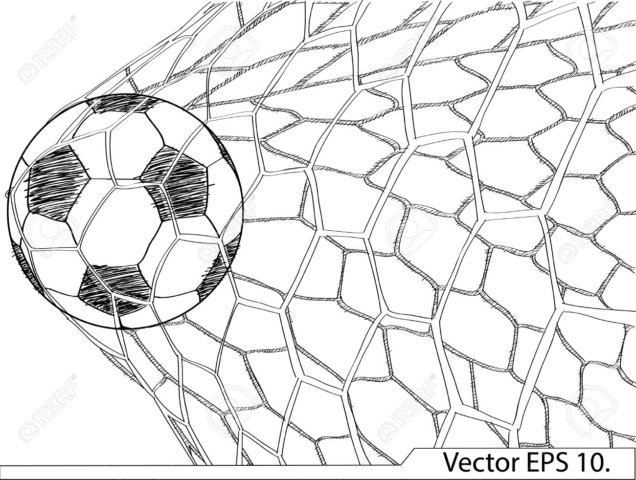 1300x982 Soccer Football In Goal Net Vector Sketched Up, Eps 10 Royalty