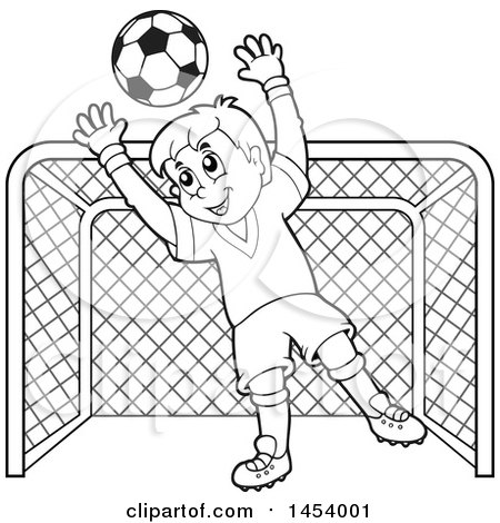 450x470 Clipart Of Blacknd White Lineart Soccer Goalie Boy Blocking
