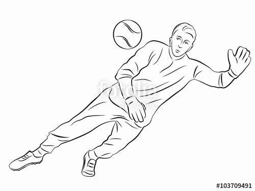 500x375 Silhouette Of Soccer Goalie, Vector Draw Stock Image And Royalty