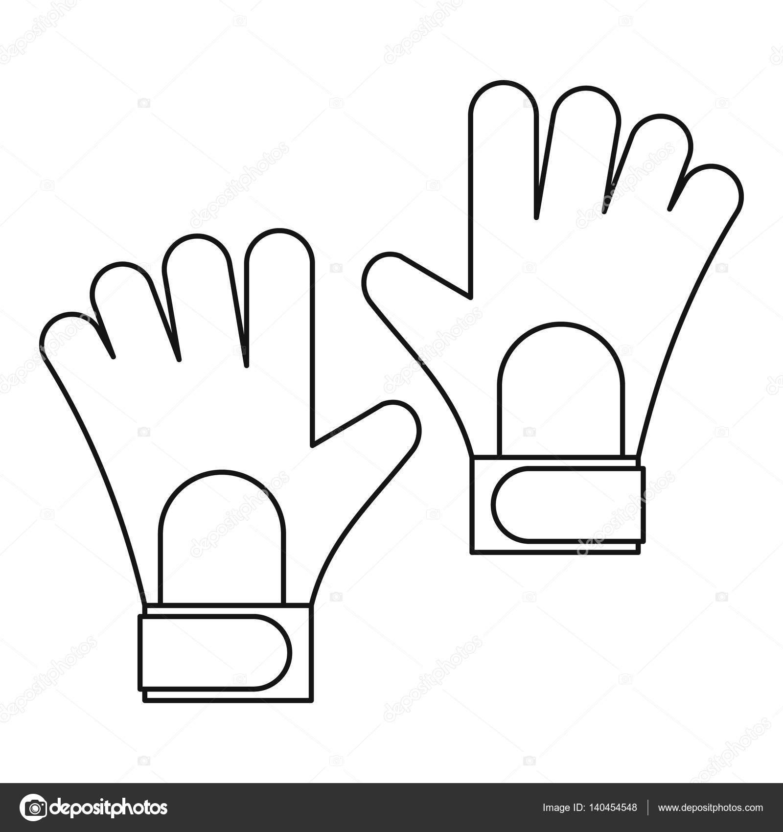 1600x1700 Soccer Goalkeeper Gloves Icon, Outline Style Stock Vector
