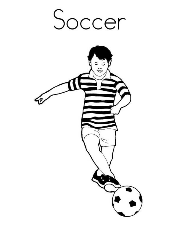 600x776 A Boy Playing Soccer In A Stripe Jersey Coloring Page