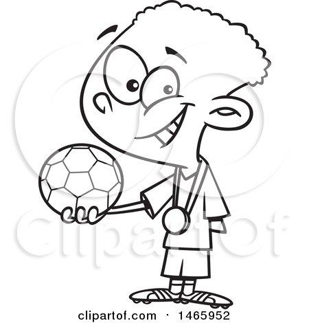 450x470 Clipart Of A Cartoon Lineart Boy Soccer Champion Holding A Ball