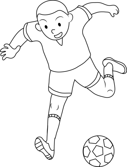 417x550 Coloring Page Of Boy Playing Soccer
