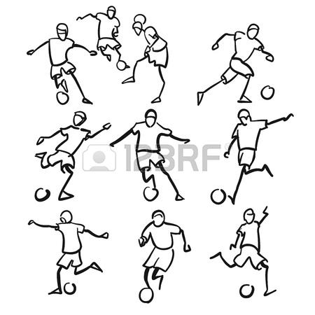 450x450 Football Or Soccer Player Motion Sketch Studies, Hand Drawn Vector
