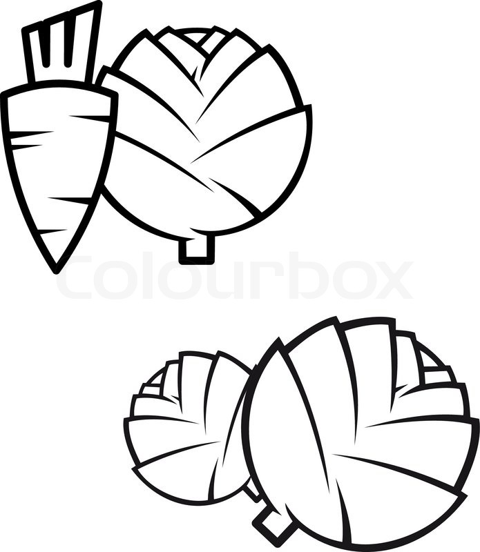 695x800 Black And White Stylised Line Drawing Of A Fresh Whole Carrots