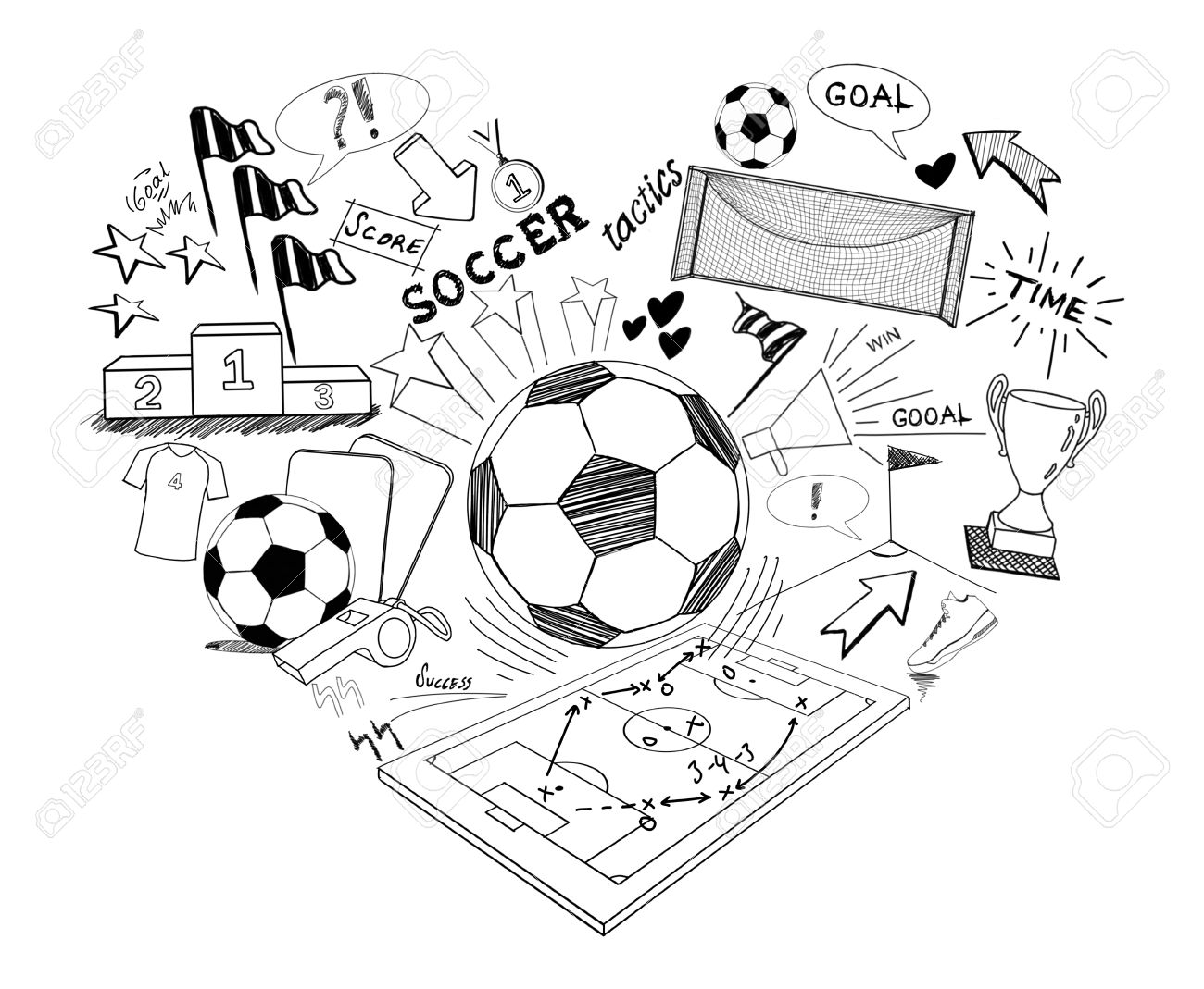 1300x1069 Soccer Doodle, Hand Drawn Sketch Soccer Stock Photo, Picture