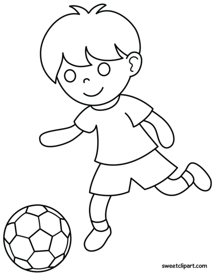 427x550 Boy Playing Soccer Coloring Page