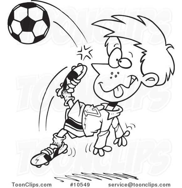 581x600 Cartoon Black And White Line Drawing Of A Boy Doing A Soccer Kick